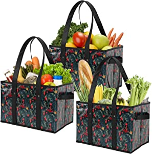 Foraineam 3 Pack Reusable Grocery Bags Heavy Duty Grocery Totes Bag Shopping Box Bags Collapsible Grocery Boxes with Reinforced Bottom