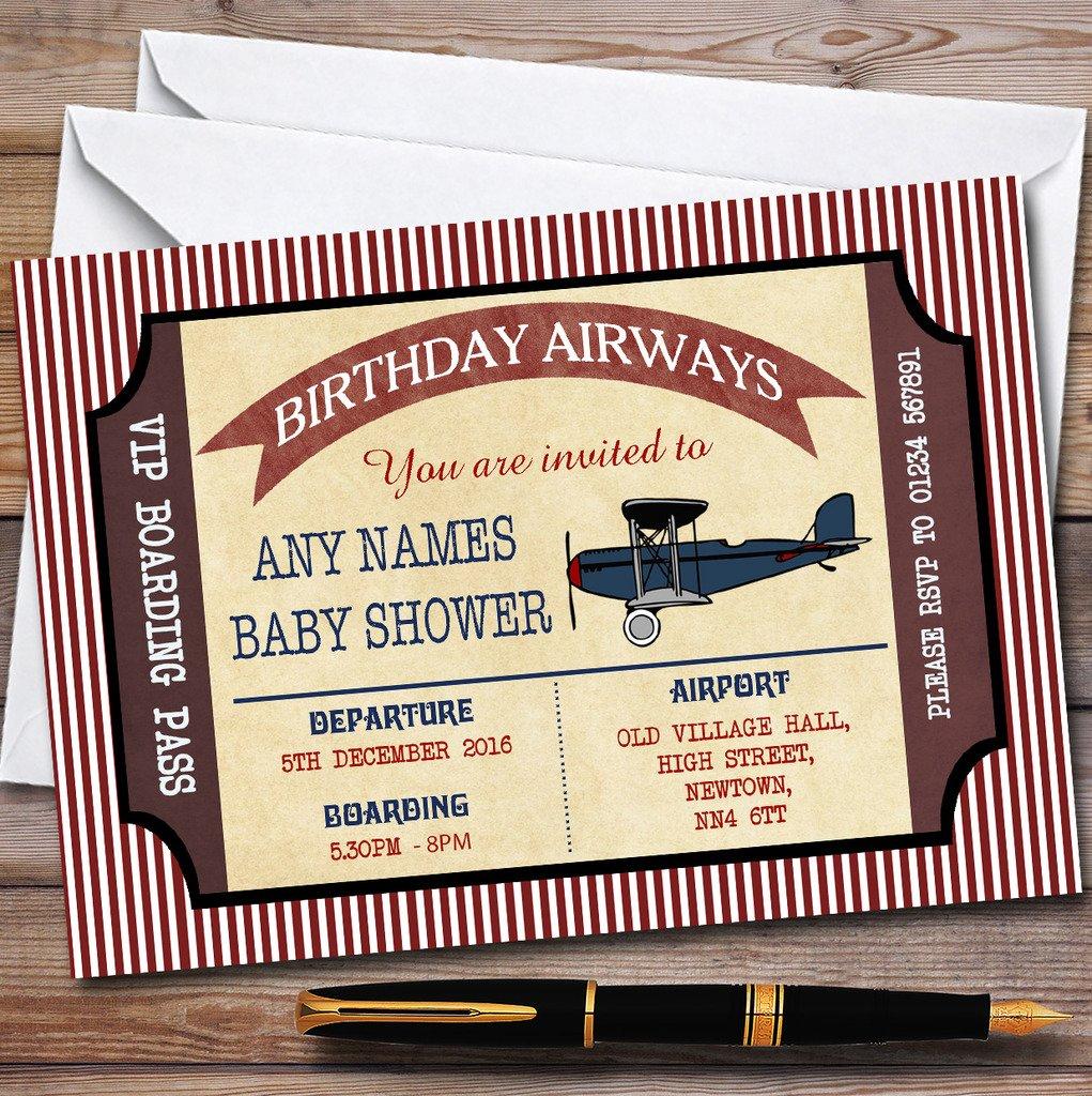 Rojo tarjeta de embarque avión invitaciones Baby Shower ...
