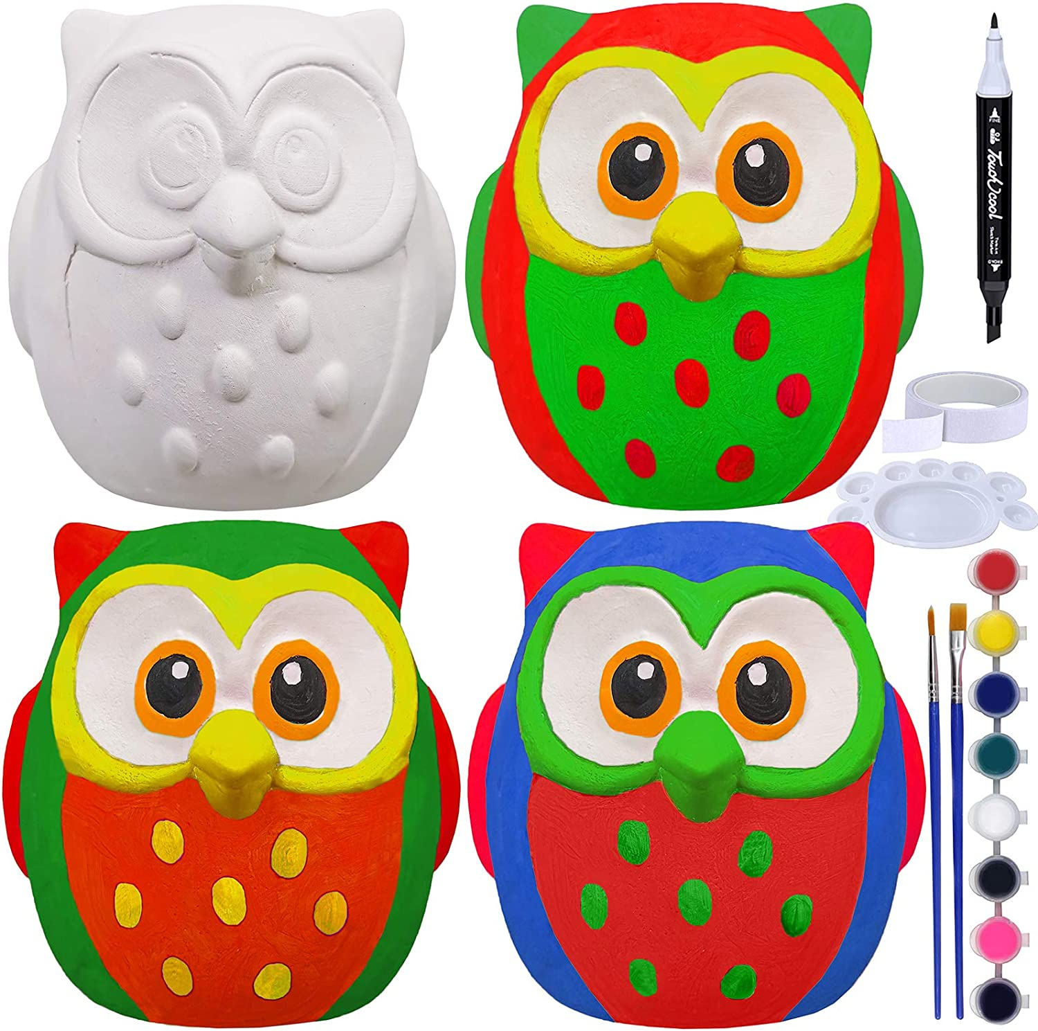 4 Sets DIY Ceramic Owls Figurines Paint Craft Kit Unpainted Bisque Ceramics PaintableOwls Ceramics Ready to Paint for Kids Christmas Winter Season Holiday at-Home Classroom DIY Craft Project