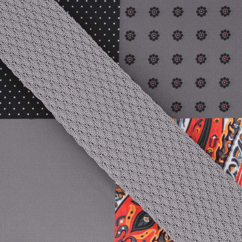 GASSANI Set 6cm Schmale Vintage Strick-Krawatte Einstecktuch 4 Muster