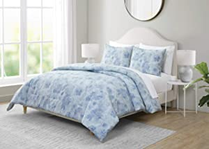 Tahari Home | Bayberry Collection | Blue Floral Soft Microfiber Comforter Set, King, Blue
