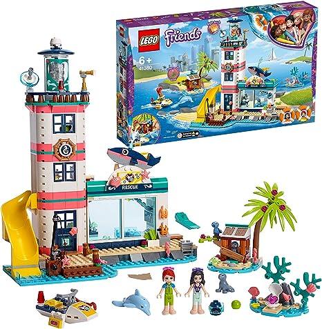 LEGO Friends - Centro de Rescate del Faro Nuevo set de construcción de Colorido Edificio con Tobogán de Juguete y mini muñecas para Recrear Aventuras en la Costa (41380): Amazon.es: Juguetes y