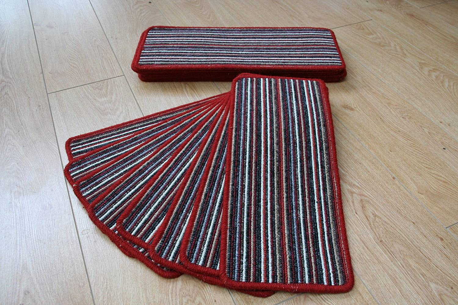 14 Red Stripey Open Plan Carpet Stair Treads Red Beige Pads 8inc x 20inc Pads Stripe austins