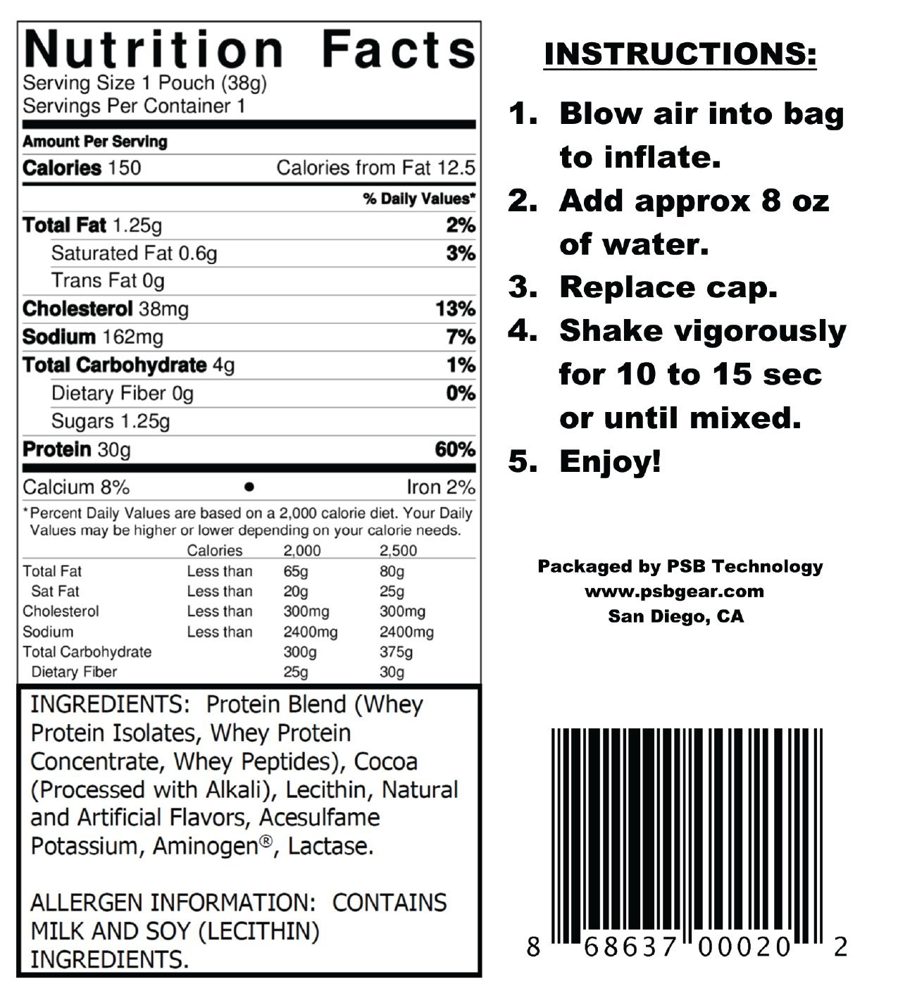 PSB GEAR - WHEY PROTEIN. PRE-FILLED SHAKER POUCH. CASE OF 24 - CHOCOLATE. Add water, shake, and drink. 30 grams of protein. by PSB (Image #4)