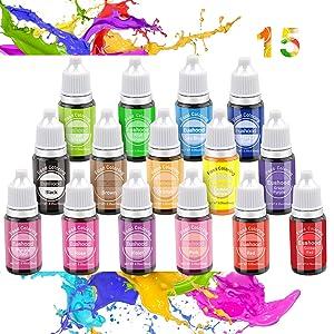Euahood Food Coloring Liquid- 15 Color Neon Tasteless Food Dye for Cake Decorating,Baking,Icing,Pastel,Cooking,Slime Making,DIY Crafts-Vibrant Food Color for Kid and Vegan .35 Fl. Oz (10 ml) Bottles