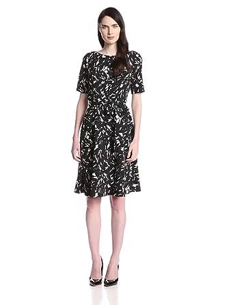 Kasper Women's Elbow Sleeve Printed Full Skirt Dress, Black/Ivory, 4