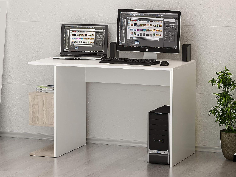 HOMIDEA Warren Bureau Table pour Ordinateur avec /étag/ère en Un Design Moderne Blanc