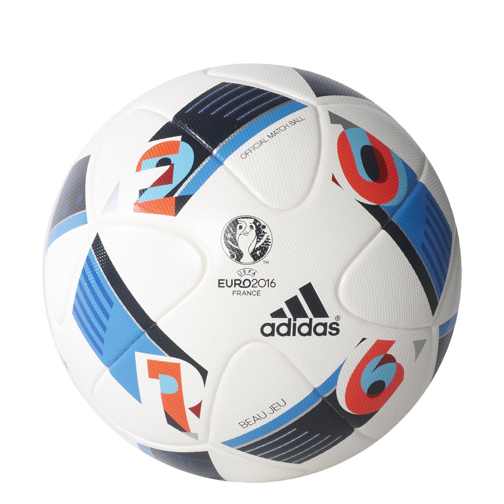 adidas Performance Euro 16 Official Match Soccer Ball, White/Bright Blue/Night Indigo, 5