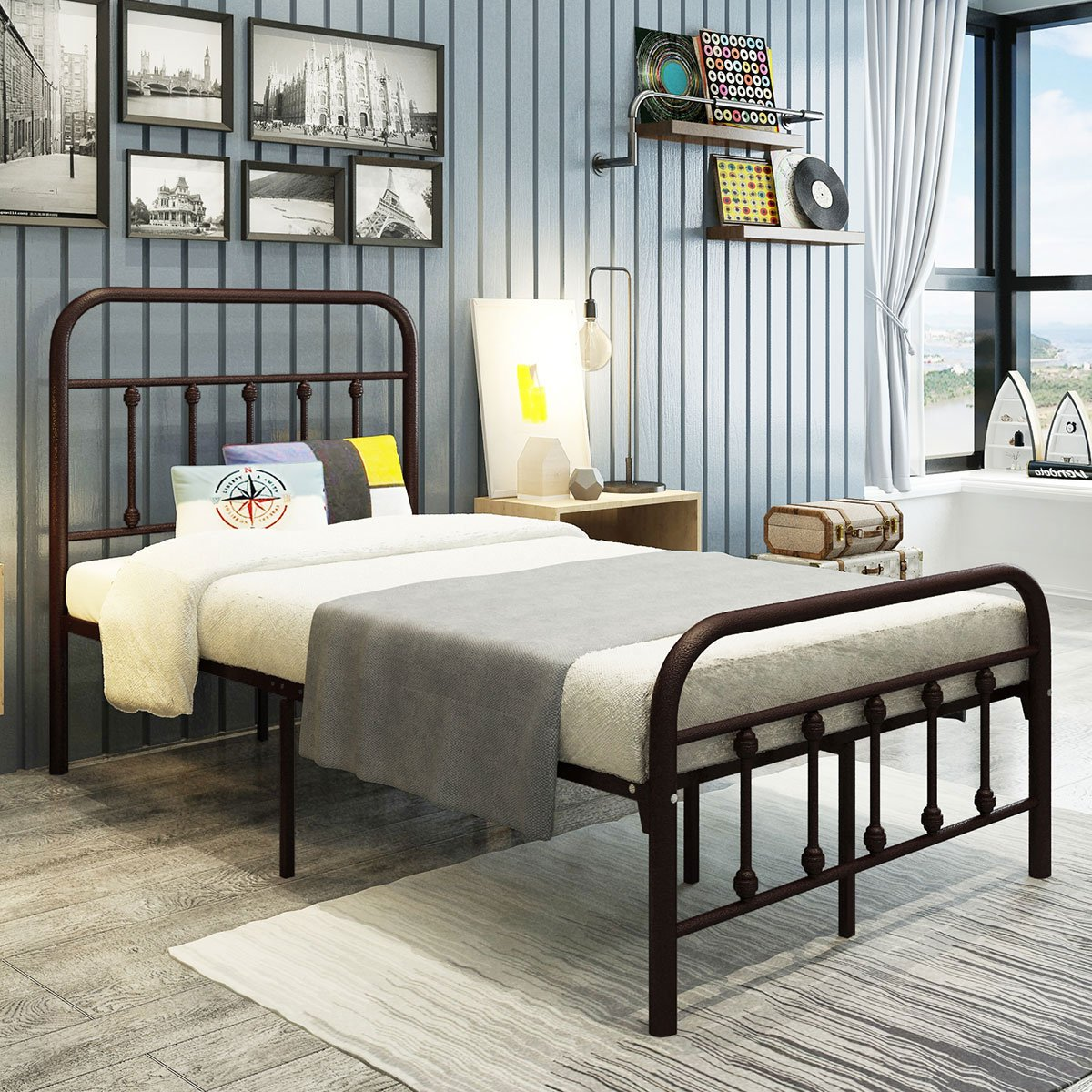 DUMEE Metal Beds with Headboard and Footboard Mattress Foundation Box Spring Replacement Steel Slat Support Twin Size Bronze