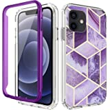 "COANJIUO Compatible with iPhone 12 Mini 5.4"" Case, 360 Full Body Protective Shockproof TPU Bumper Women Phone Armor Cover wit"