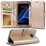 Arae Galaxy s7 edge Case, [Wrist Strap] Flip Folio [Kickstand Feature] PU leather wallet case ID&Credit Card Pockets Samsung Galaxy S7 edge (Champagne gold)