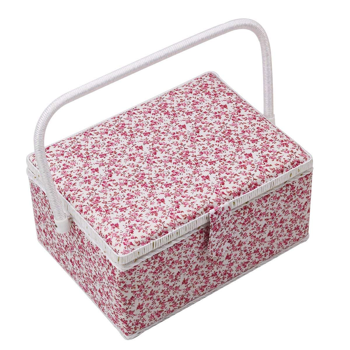 D&D Sewing Box Large - Flower Notions Basket (lavender)