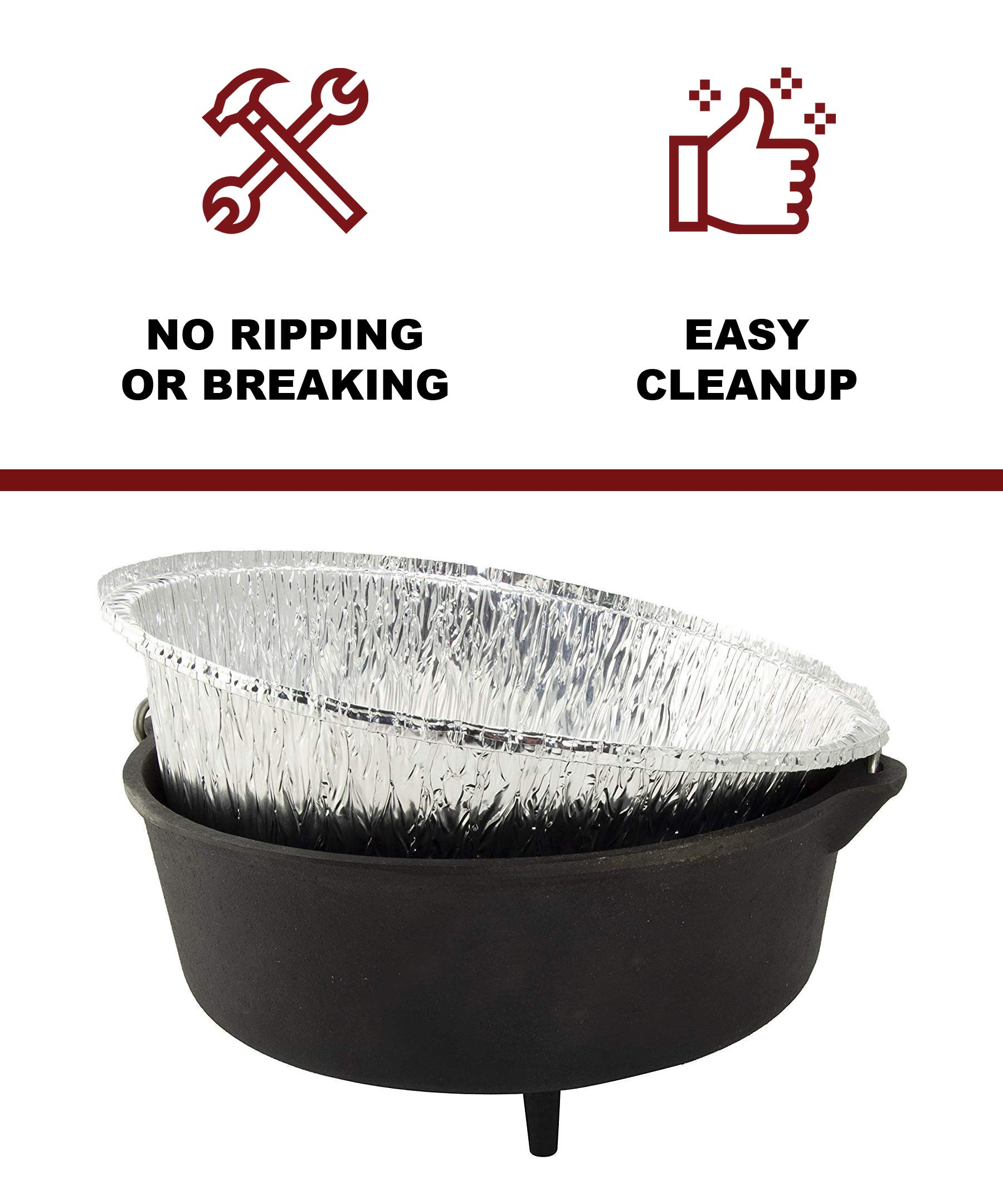 Campliner Original Dutch Oven Liners, 30 Pack of 12-Inch 6-Quart Disposable Liners - No More Cleaning Or Seasoning Your Dutch Ovens. Fits Lodge, Camp Chef, and Other 12'' Cast Iron Dutch Ovens by CAMP LINER (Image #2)