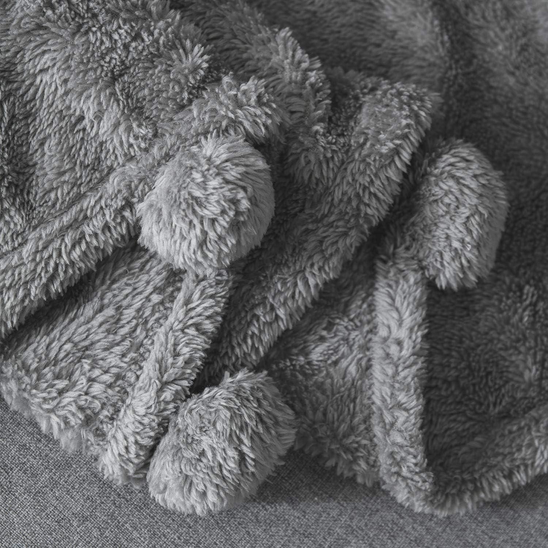 I'HERMU Sherpa Throw Blanket for Couch (Large 51''x 63'', Grey with Pom Poms Fringe) Fuzzy Fluffy Plush Soft Cozy Warm Fleece Th