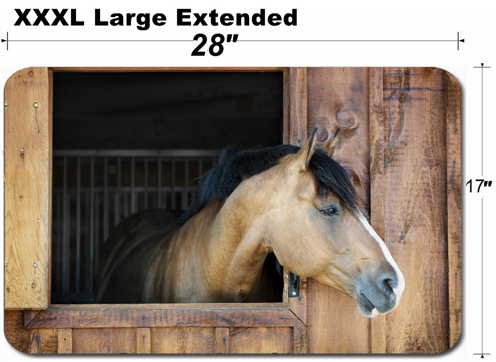 MSD Large Table Mat Non-Slip Natural Rubber Desk Pads Image 26501525 Curious Brown Horse Looking Out Stable Window