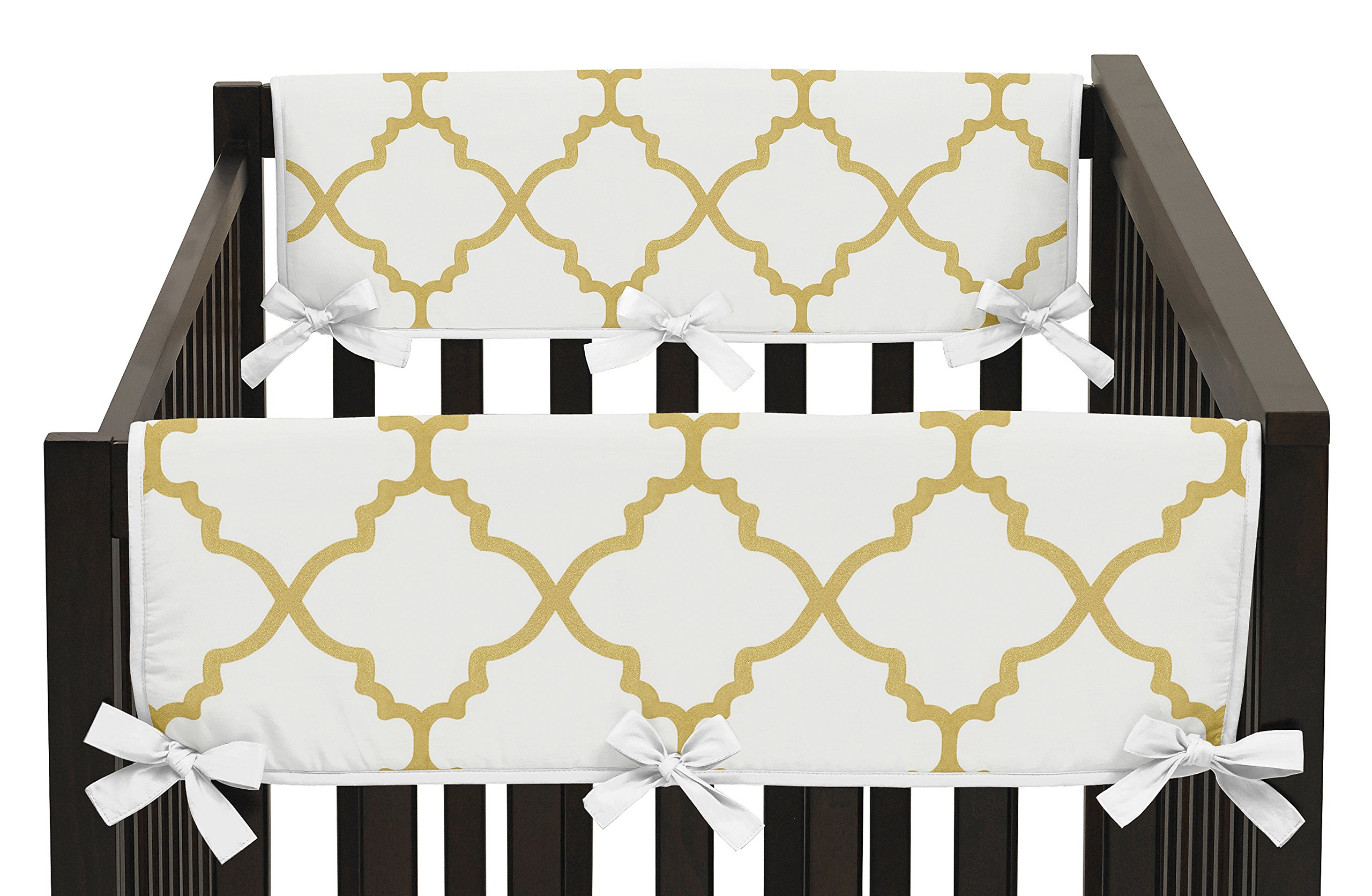 Sweet Jojo Designs 2-Piece White and Gold Trellis Lattice Teething Protector Cover Wrap Baby Crib Side Rail Guards