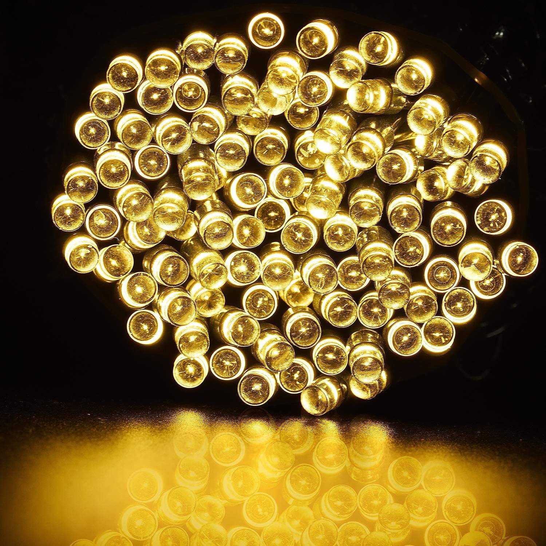luces de cadena de hadas solares, luces impermeables interiores/exteriores de 72FT 200 LED, luces solares decorativas accionadas para jardín, patio, hogar, bodas, fiestas, Navidad - Blanco cálido: Amazon.es: Bricolaje y herramientas