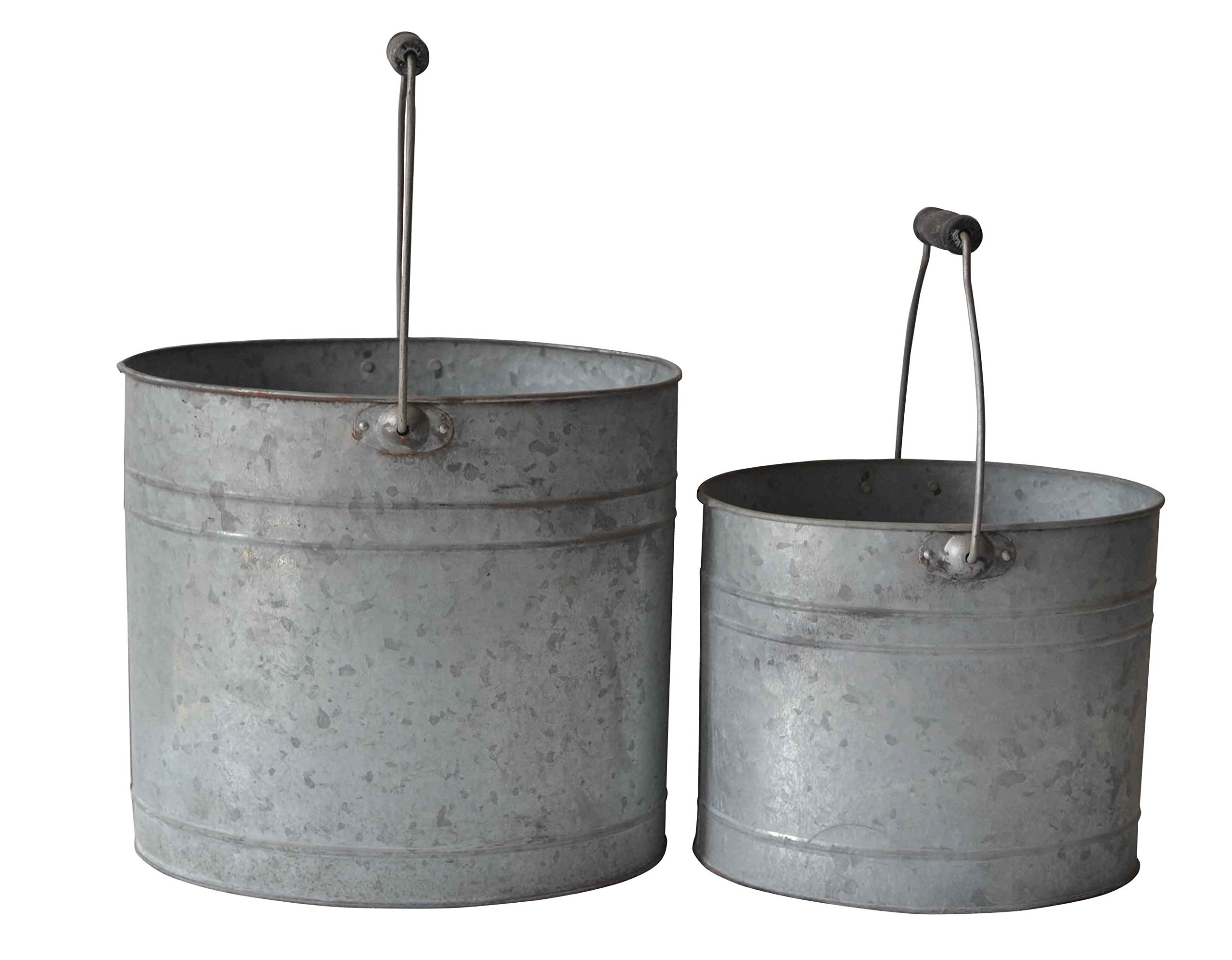Cheung's FP-4249-2 Oval Metal Bucket With Wood Grip Handle, Set Of 2 by Cheung's (Image #1)
