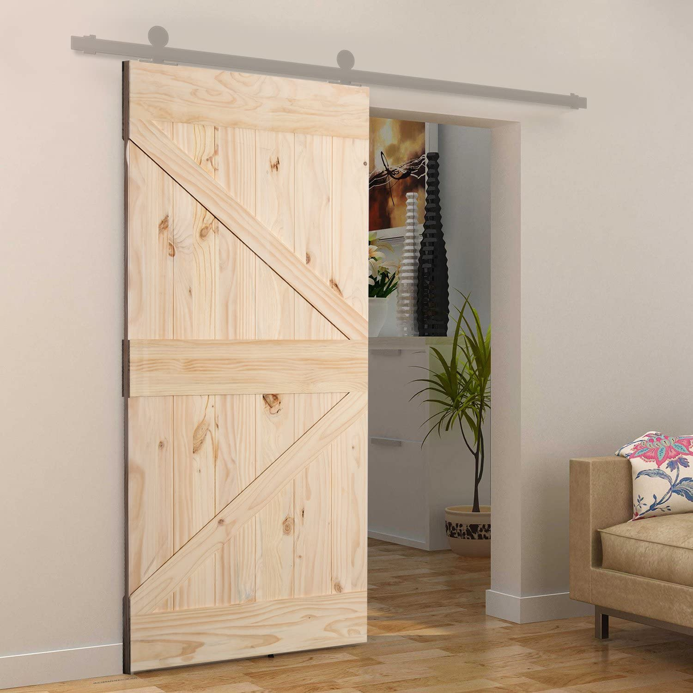 Homcom - Puerta corredera de madera de pino lacado DIY, 213 x 96,5 x 3,5 cm, natural: Amazon.es: Bricolaje y herramientas