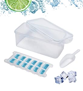 Ice Cube Bin Scoop Trays - Use It as a Clear Box in the Freezer, Shelves, Pantry