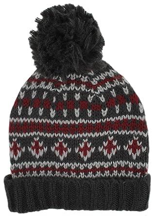 52170b3be43 Tom Franks Mens Brushed Acrylic Fairisle Bobble Hat Red  Amazon.co.uk   Clothing