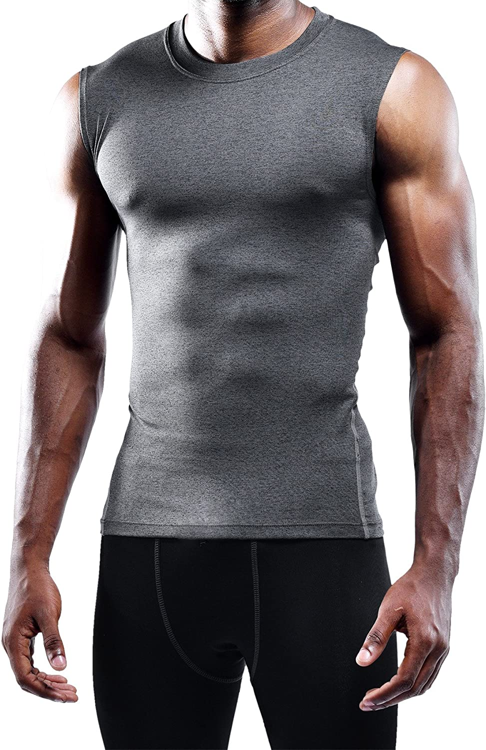 Neleus Mens 3 Pack Compression Athletic Muscle Sleeveless Tank Top