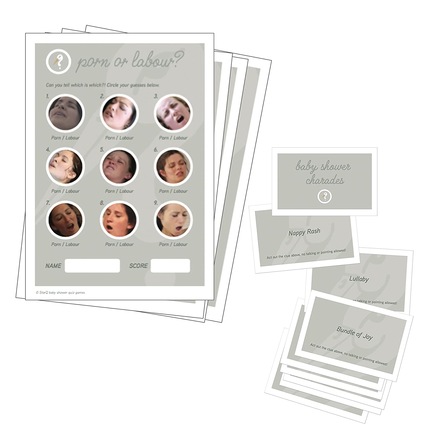 24 Baby Shower Charade Cards Porn or Labour x 20 Quiz Sheets