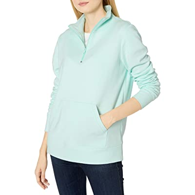 Essentials Women's Long-Sleeve Lightweight French Terry Fleece Quarter-Zip Top: Clothing
