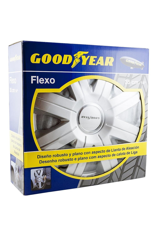 Good Year GOD9027 - Set de 4 Tapacubos Flexo 20, Plata, 14 Pulgadas: Amazon.es: Coche y moto