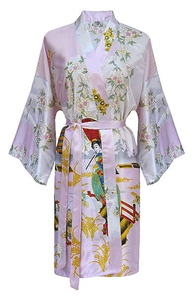 Kimono Mujer japonesa - bata corta elegante de satén: Amazon.es: Ropa y accesorios