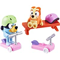 """Bluey Vehicle 2-Pack, 2.5-3"""" Bluey & Bingo Articulated Figures - Scooter Time"""