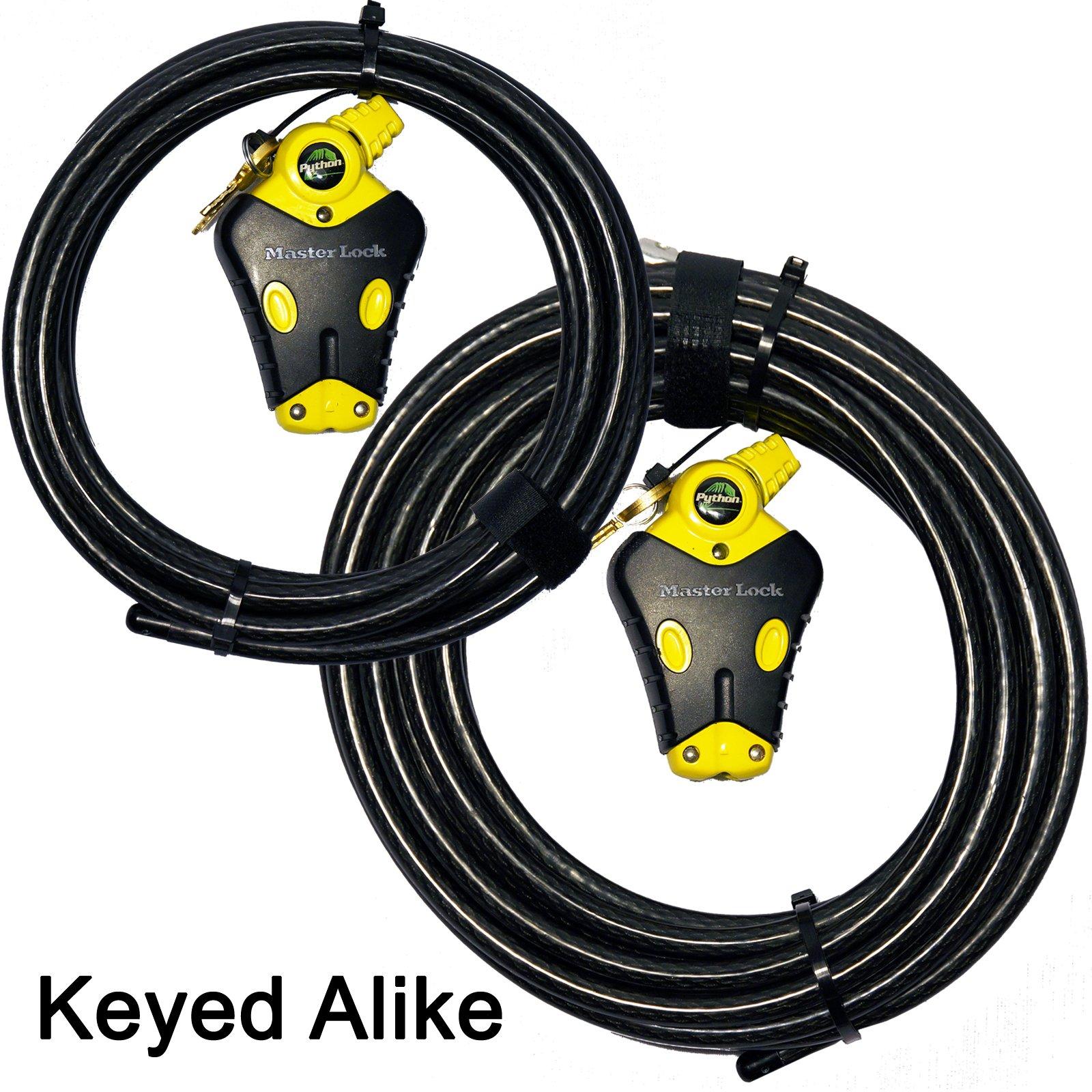 Master Lock - Two Python Adjustable Cable Locks Keyed Alike, 1-12ft, 1-30ft, - #8413KACBL-12-30