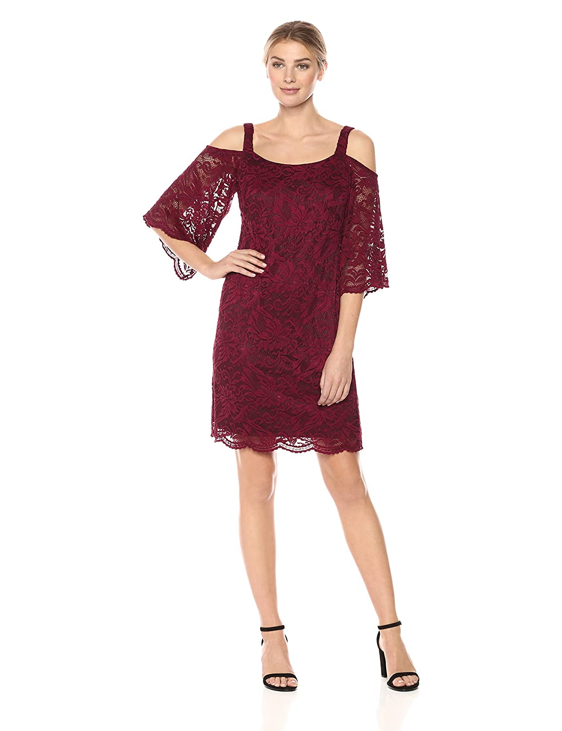 0fcdf727163e ROBBIE BEE Women s Cold Shoulder Lace Bell Sleeve Dress at Amazon Women s  Clothing store