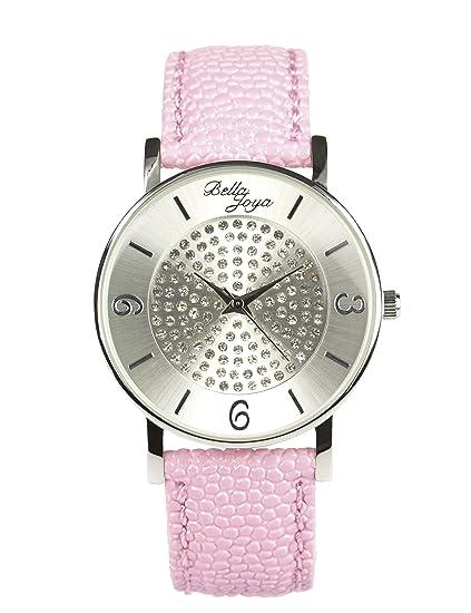Bella joya moderna de mujer reloj Lu con brillantes funkelnden, raya de estructura de correa de piel auténtica Color Rosa: Amazon.es: Relojes