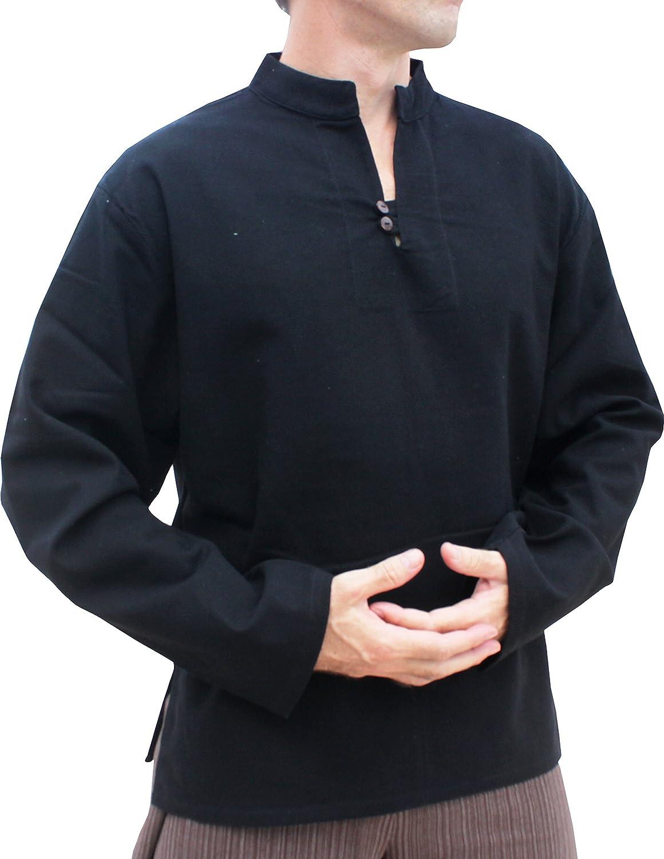 Raan Pah Muang RaanPahMuang Light Summer 100/% Cotton Chinese Collar Shirt Two Wood Buttons Longsleeve Plus variant26820AMZ