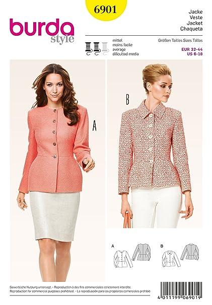 Burda Ladies Sewing Pattern 6901 - Peplum Jackets Sizes: 6-18