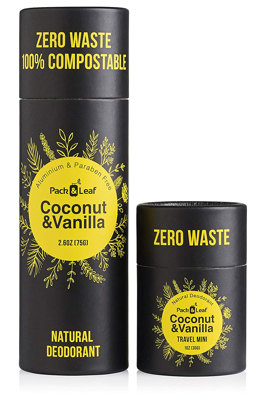 Natural Deodorant Stick Set, Aluminum Free & Zero Waste Deodorant with Full & Travel Size, Coconut & Vanilla, for Women & Men, Vegan & Cruelty Free, Plastic Free & Eco Friendly (Total 3.6oz)