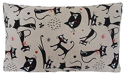 Funda de cojín de lino, forma rectangular con estampado de gatos negros, tela gris