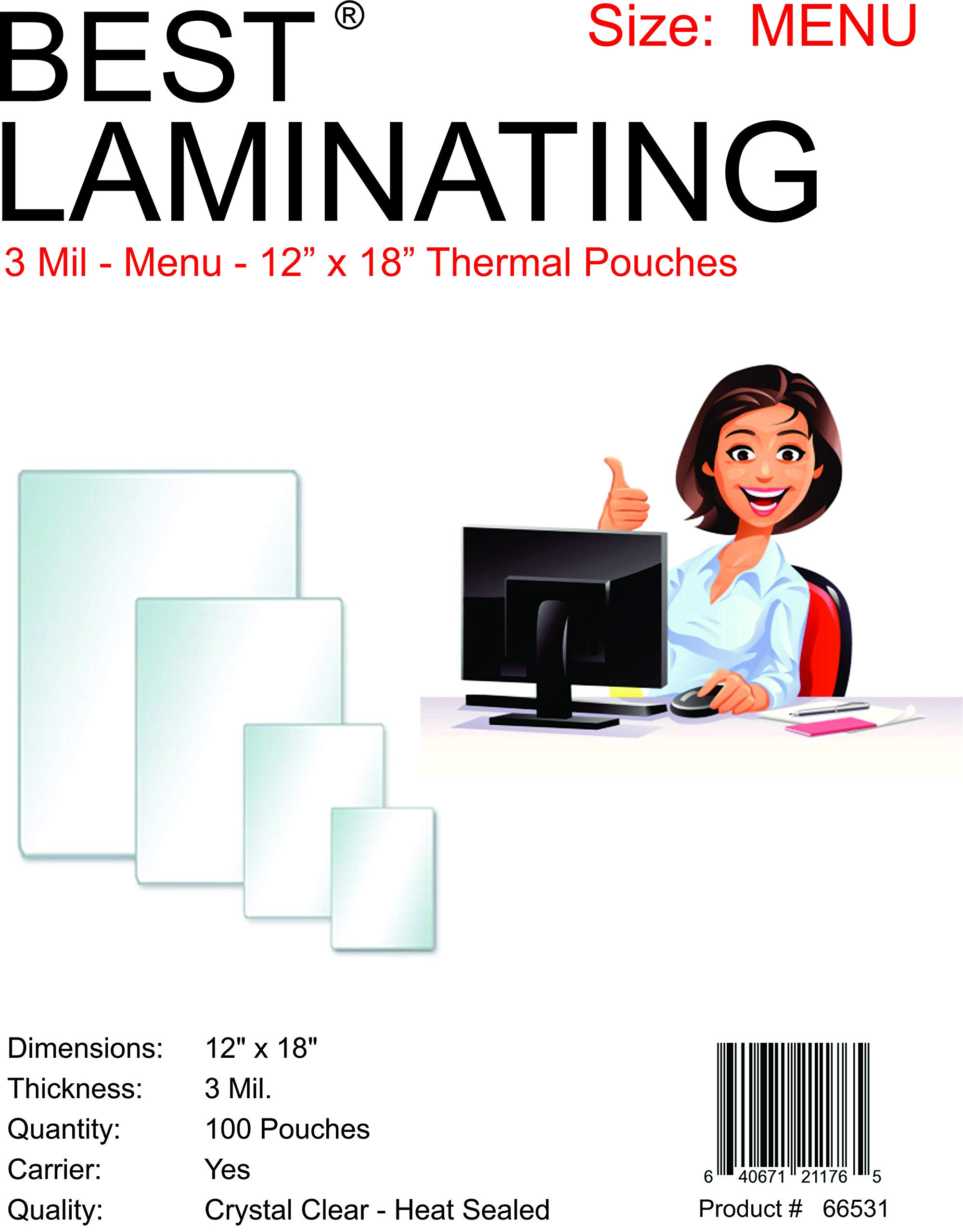 Best Laminating- 3 Mil Clear Menu Size Thermal Laminating Pouches - 12 X 18 - Qty 100, Model: 66531, Electronic Store
