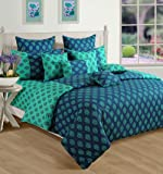 Swayam Printed Cotton Double Bedsheet with 2 Pillow Covers - Turquoise (DBS11-2008)