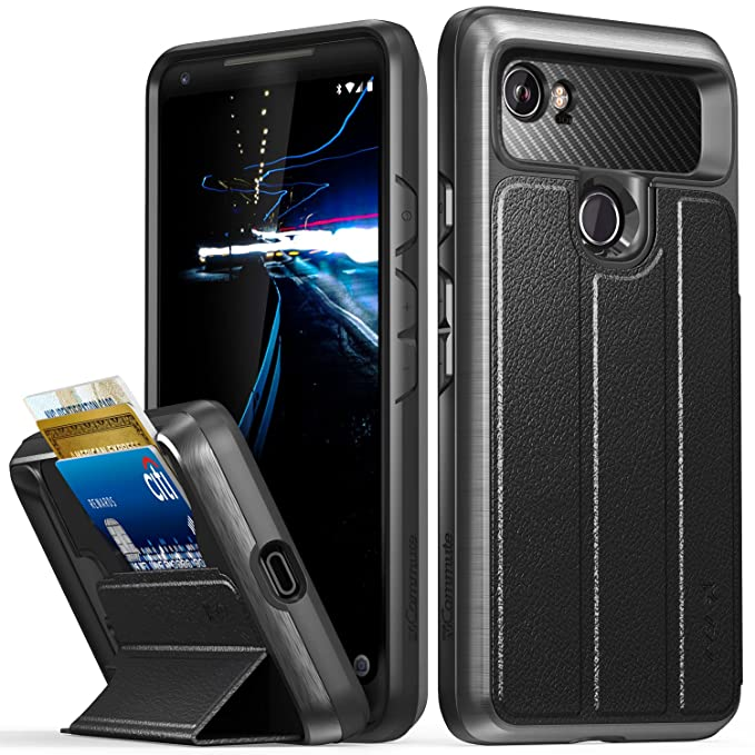 competitive price 1ed02 d894c Google Pixel 2 XL Wallet Case, Vena [vCommute][Military Grade Drop  Protection] Flip Leather Cover Card Slot Holder with Kickstand for Google  Pixel 2 ...