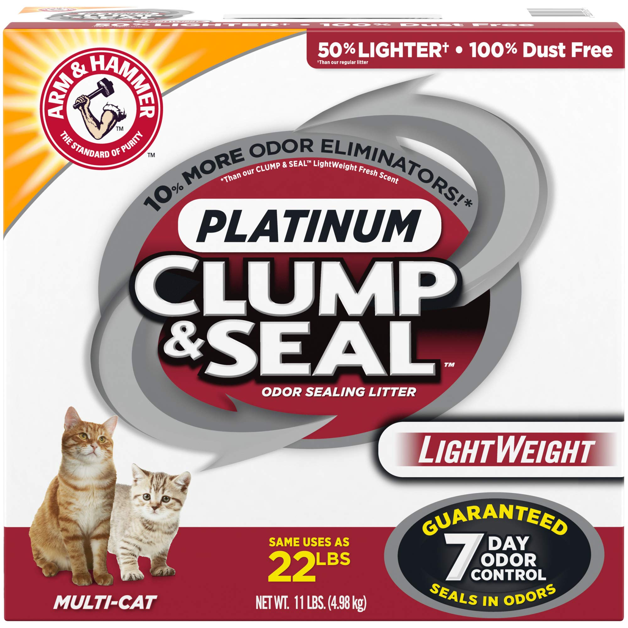Arm & Hammer Clump & Seal Platinum Lightweight Cat Litter, Multi-Cat, 11Lbs by Arm & Hammer