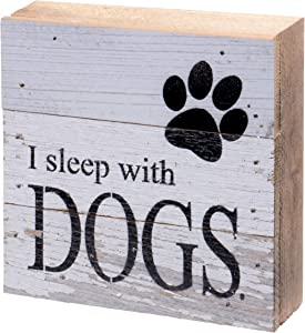 Second Nature By Hand 6x6 Inch Reclaimed Wood Art, Handcrafted Decorative Wall Plaque — I Sleep with Dogs