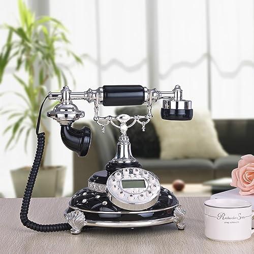 European retro vintage retro classic antique telephones landline Caller ID , Black