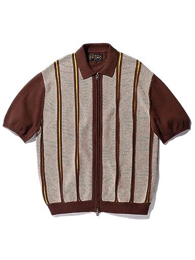 Stripe Cotton Linen Full Zip Knit Polo 11-05-0176-156: Brown