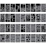 "Biubee 36 Pcs Plastic Stencils Over 1500 Different Patterns - 4"" x 7"" Plastic Planner Stencils Drawing Templates Set for…"