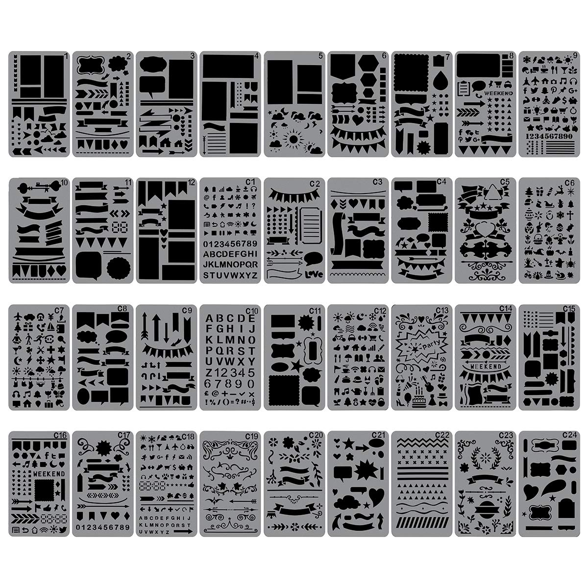 Diary 4 x 7 Plastic Planner Stencils Drawing Templates Set for Notebook Biubee 36 Pcs Plastic Stencils Over 1500 Different Patterns DIY Scrapbook