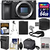 Sony Alpha A6500 4K Wi-Fi Digital Camera Body with 64GB Card + Case + Battery & Charger + Tripod + Strap + Kit