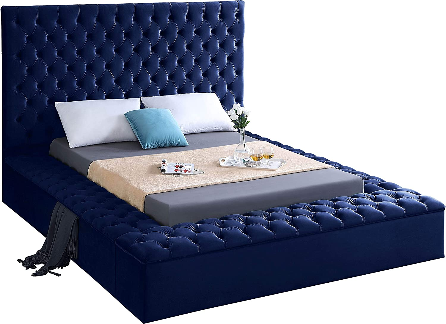 Meridian Furniture BlissNavy-K Bliss Collection Modern   Contemporary Navy Velvet Upholstered Bed with Deep Tufting, with Storage Rails and Footboard, King,