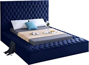 Meridian Furniture BlissNavy-K Bliss Collection Modern | Contemporary Navy Velvet Upholstered Bed with Deep Tufting, with Storage Rails and Footboard, King,